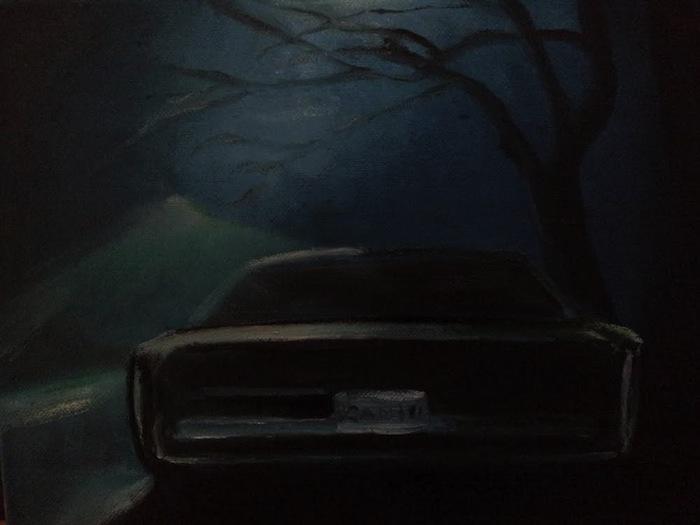Lars Weller, The black car, 2014, olieverf op doek, 30x24 cm