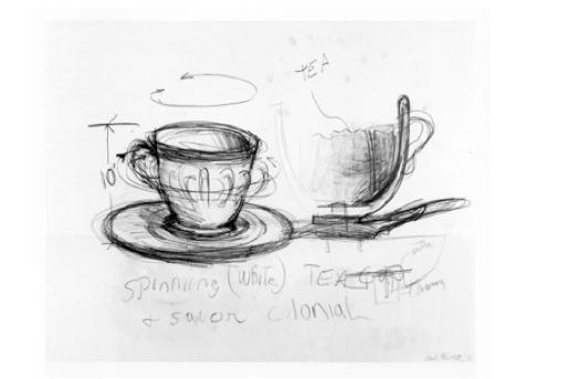 Colonial Tea Cup, 1983, voorbereidende schets, houtskool, Collectie FRAC Poitou-Charentes